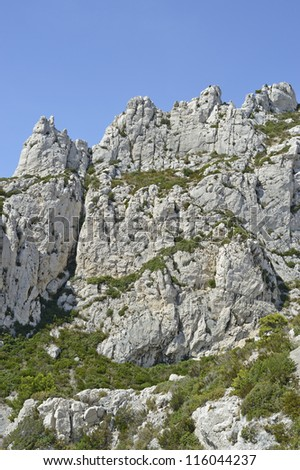 "View of the landscape ""Calanques"" at the coast of South France near Marseille"