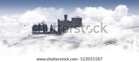 View of the Langhe and the Castle of Grinzane Cavour surrounded by white clouds and fog, Piedmont Italy Unesco heritage