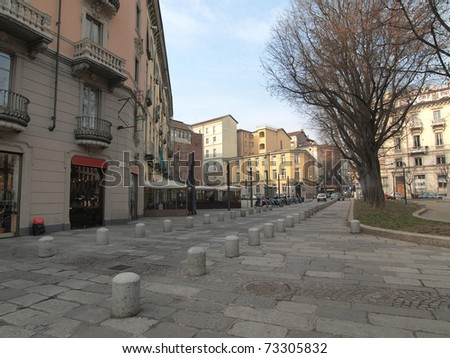 View of the medieval town area in Via IV Marzo, Turin Piedmont, Italy