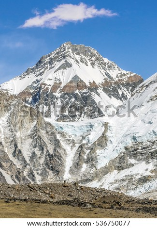 View of the mount Everest (8848 m) from the slope of Kala Patthare on a sunny day - Everest region, Nepal, Himalayas