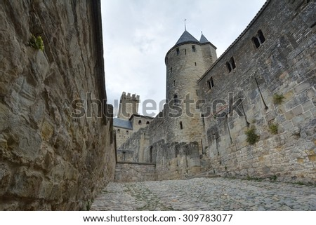 View of the old city of Carcassonne, France