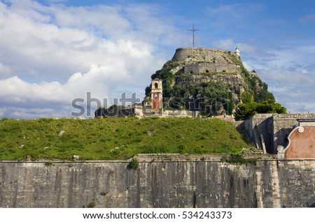 View of the old fortress in Corfu against bright skyscape