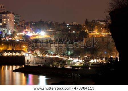 View of the old harbor at night in the historic area of Kaleici. Antalya, Turkey.