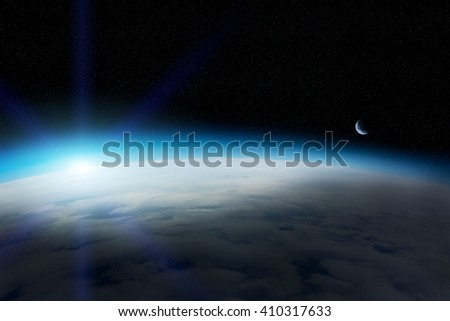 View of the planet Earth from space during a sunrise 'elements of this image furnished by NASA'