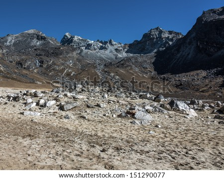 View of the Renjo pass from the west - Gokyo region, Nepal, Himalayas