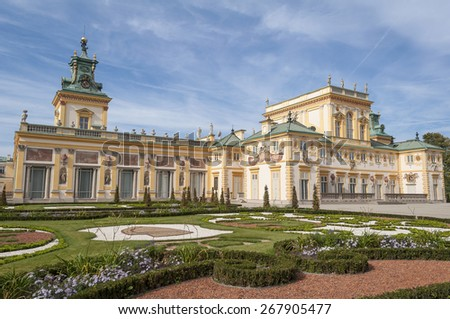 View of the Royal Palace in Wilanow, Warsaw, Poland.
