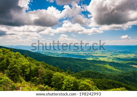 View of the Shenandoah Valley from an overlook on Skyline Drive in Shenandoah National Park, Virginia.