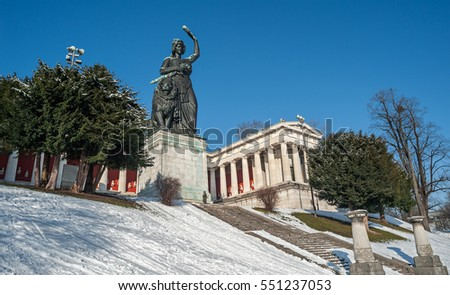 "View of the statue ""Bavaria"" and the temple""Ruhmeshalle""of Munich in Germany in the wintertime"