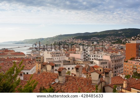 View of the Trieste roofs and sea, Italy