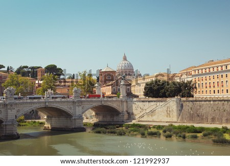 View of the Vatican with Saint Peter's Basilica and Sant'Angelo's Bridge. Rome, Italy