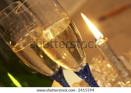 view of two flute glass and a bottle of Champagne