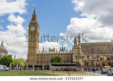 View of UK Parliament and Big Ben from Parliament Square in London, England