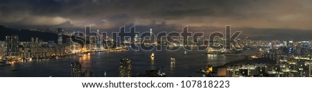 View of Victoria harbor of Hong Kong