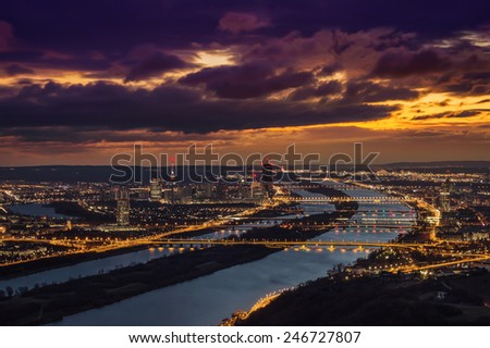 View of Vienna looking southeast from Leopoldsberg at sunrise