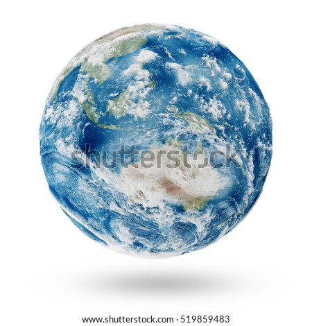 View on Cloudy Australia. Earth Planet Isolated on white background. Elements of this image furnished by NASA. 3D Rendering