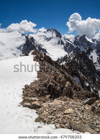 View on Semenov Tien-Shansky Peak from the top of Uchitel Peak in Ala Archa National Park