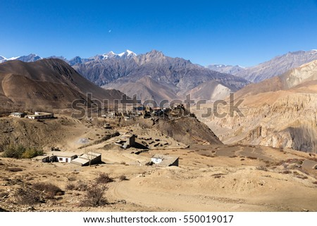 View on the Jharkot village, lower Mustang, Nepal