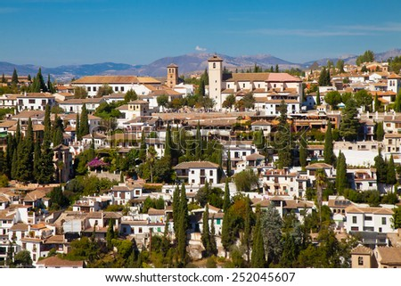 View on the part of the historical city of Granada in Andalusia, Spain