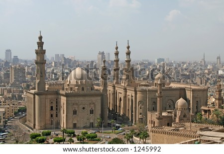 View over Cairo city with Mosque of Sultan Hassan