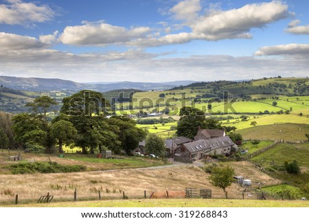 View over farmstead from the Stiperstones, Shropshire, England
