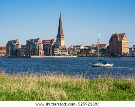 View over the river Warnow to Rostock, Germany.