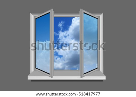 view through window sky clouds illustration