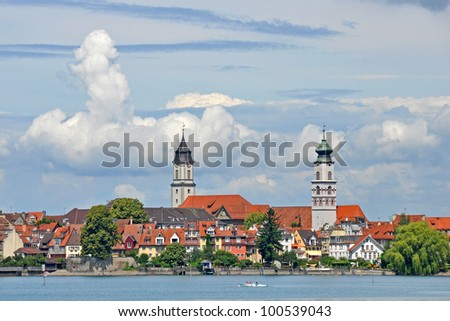 View to Old town of Lindau from Lake Constance