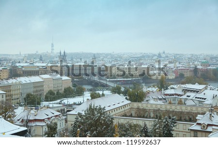 View to the Prague in winter