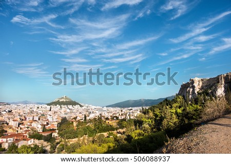 View towards the Mount Lycabettus from the Areopagus in Athens, Greece