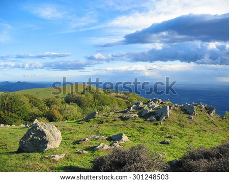 Viewpoint from the Albera massif at the border between Spain and France with the Mediterranean sea and the gulf of Rosas in background, Pyrenees