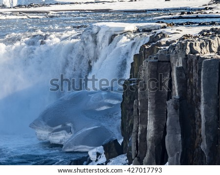 Views around Sellfoss + Dettifoss waterfalls Iceland, Northern Europe in winter with snow and ice