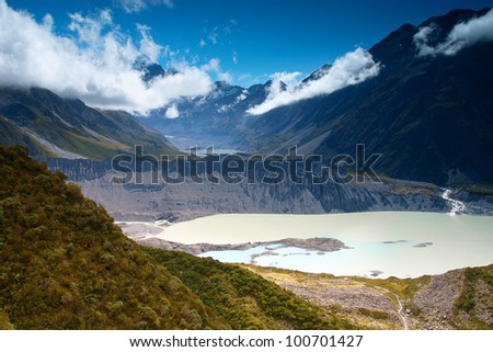 Views of Tasman Glacier from Hooker Valley Track, Aoraki/Mt Cook National Park, South Island of New Zealand