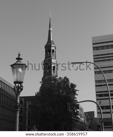 views of the historic center of Hamburg, Germany. black and white photo
