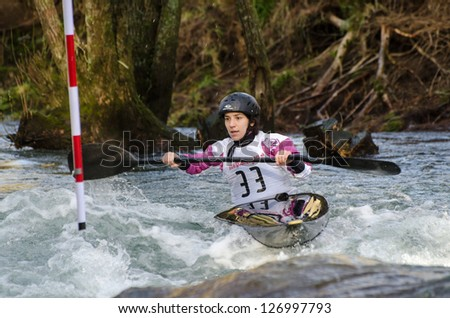 VILA NOVA DE CERVEIRA, PORTUGAL - FEBRUARY 3: Carolina Gomes during the Taca Iberica de Slalom on february 3, 2013 in Vila Nova de Cerveira, Portugal.