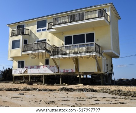 VILANO BEACH, FLORIDA, USA - NOVEMBER 9, 2016: Aftermath of beach home damage caused by hurricane Matthew hitting along the east coast of Florida on October 7, 2016