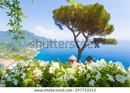 Villa Rufolo, Amalfi Coast, Ravello, Italy. Panoramic view from the flower terrace