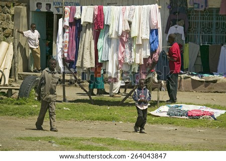 Village setting with laundry on line in Great Rift Valley, near Nairobi, Kenya, Africa