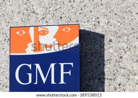 Villefranche, France - January 24, 2016: GMF sign on a wall. GMF is a mutual insurance company for civil servants.