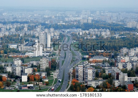 Vilnius city aerial view - Lithuanian capital bird eye view. Lithuania.