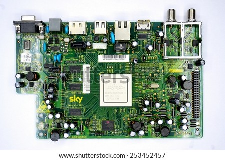 VILNIUS, LITHUANIA - FEBRUARY 3: Printed circuit board of SAT receiver in private collection on February 3, 2015, Vilnius, Lithuania.