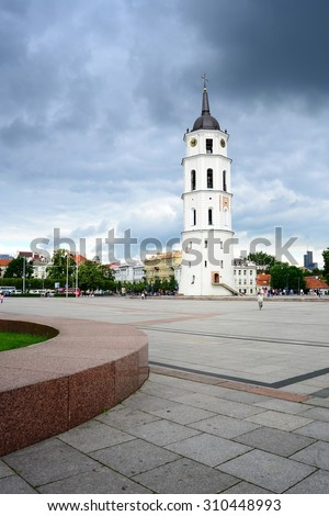 VILNIUS, LITHUANIA - JUNE 25: The Cathedral  belfry and Square in central Vilnius on summer on June 25, 2015, Vilnius, Lithuania.