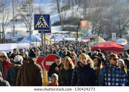 VILNIUS, LITHUANIA - MARCH 2: Unidentified peoples in annual traditional crafts fair - Kaziuko fair on Mar 2, 2013 in Vilnius, Lithuania