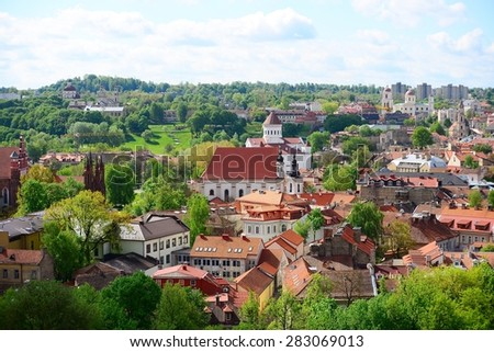 VILNIUS, LITHUANIA - MAY 12: View from Gediminas castle to the old Vilnius on May 12, 2015, Vilnius, Lithuania. In 1994 the Vilnius Old Town was included in the UNESCO World Heritage List.