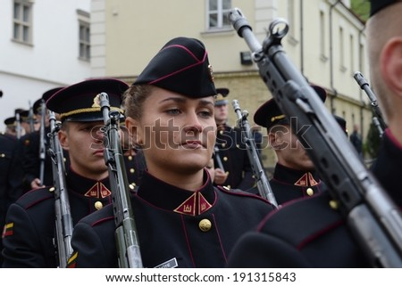 VILNIUS, LITHUANIA - SEPTEMBER 28, 2013: The swearing-in of the Lithuanian military Academy. The Academy trains officers for the armed forces of Lithuania, providing  military education and research.