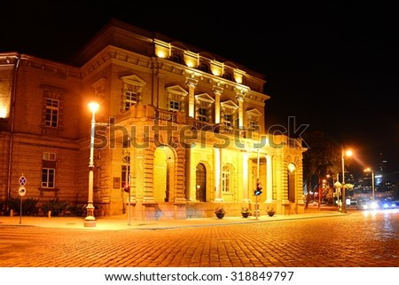 VILNIUS, LITHUANIA - SEPTEMBER 3 : Vilnius house evening view on September 3, 2015, Vilnius, Lithuania.