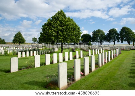 Vimy, France - July 5, 2016: War graves at the Cabaret Rouge War Cemetery near Vimy Ridge.
