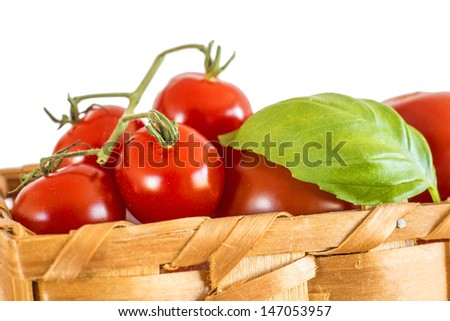 vine tomatoes in a basket