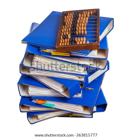Vintage abacus on stack of blue folders isolated over white