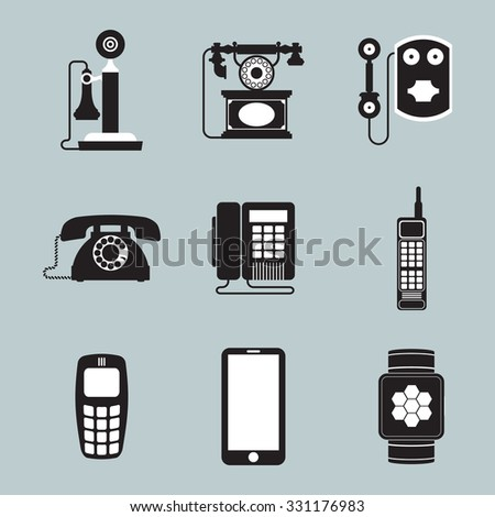 Vintage and Modern Phone Icons