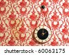 Vintage Antique Style Wallpaper with Clock - stock photo